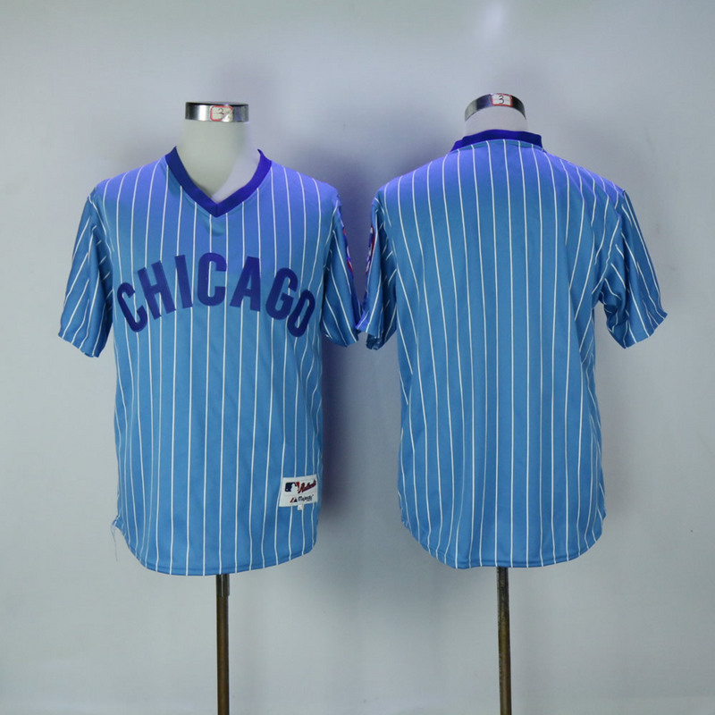 2017 MLB Chicago Cubs Blank 1984 Blue White stripe Throwback Jerseys