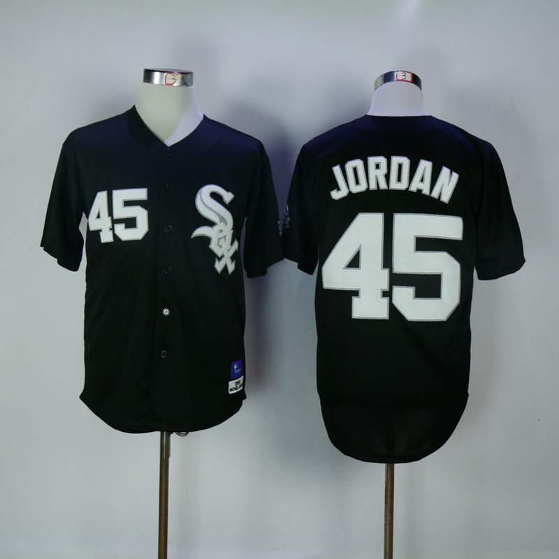 2017 MLB Chicago White Sox 45 Jordan Black Throwback Jerseys