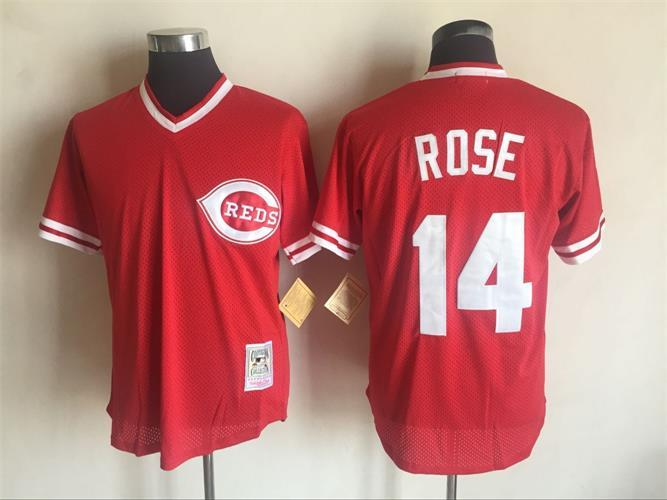 2017 MLB Cincinnati Reds 14 Pete Rose Red Throwback Jerseys