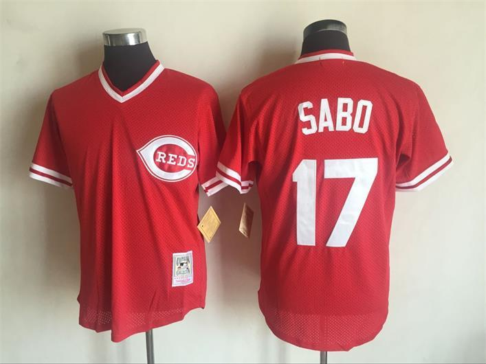2017 MLB Cincinnati Reds 17 Chris Sabo Red Throwback Jerseys