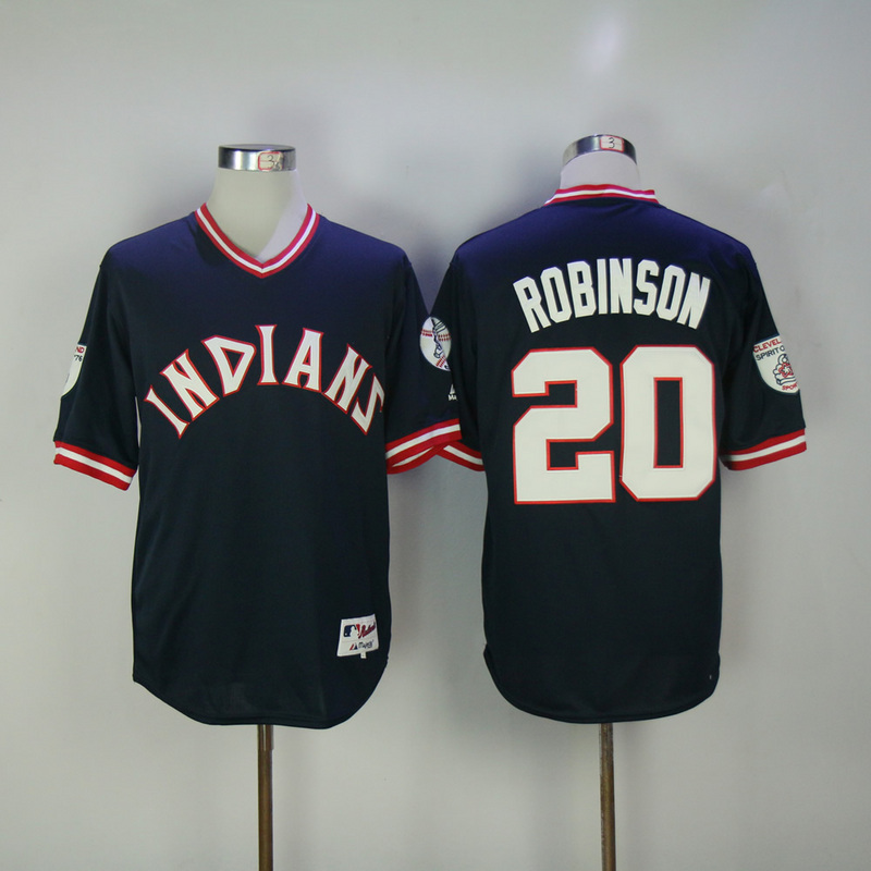 2017 MLB Cleveland Indians 20 Robinson Blue Throwback Jerseys