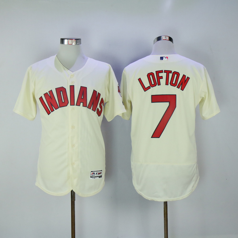 2017 MLB Cleveland Indians 7 Lofton Cream Elite Jerseys