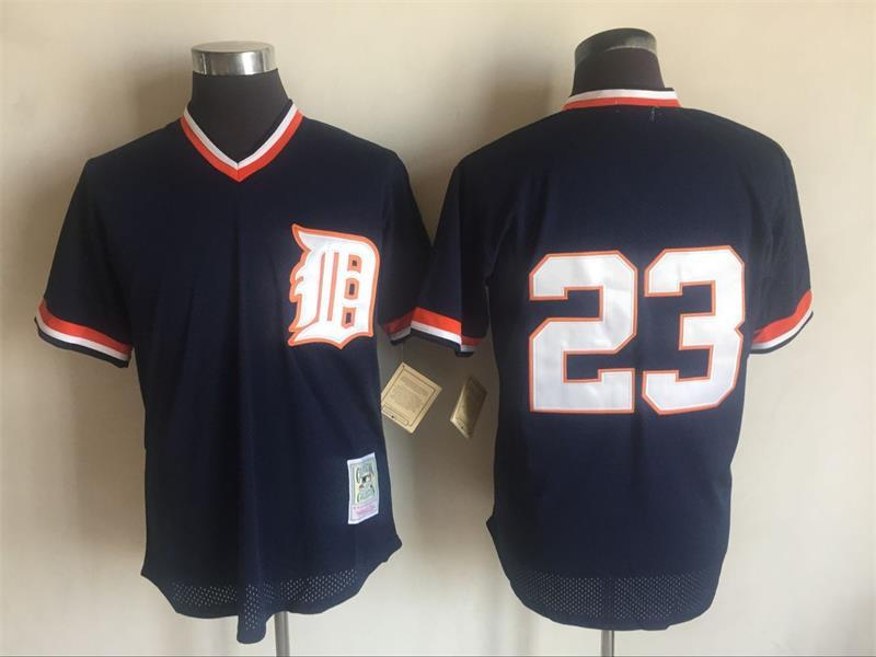 2017 MLB Detroit Tigers 23 Kirk Gibson Blue Throwback Jerseys