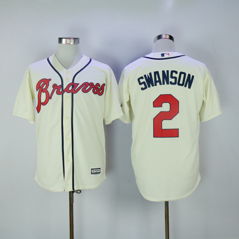 2017 MLB FLEXBASE Atlanta Braves 2 Swanson cream jerseys
