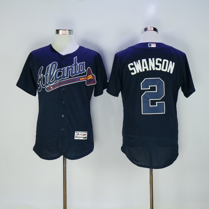 2017 MLB FLEXBASE Atlanta Braves 2 Swanson dark blue jerseys