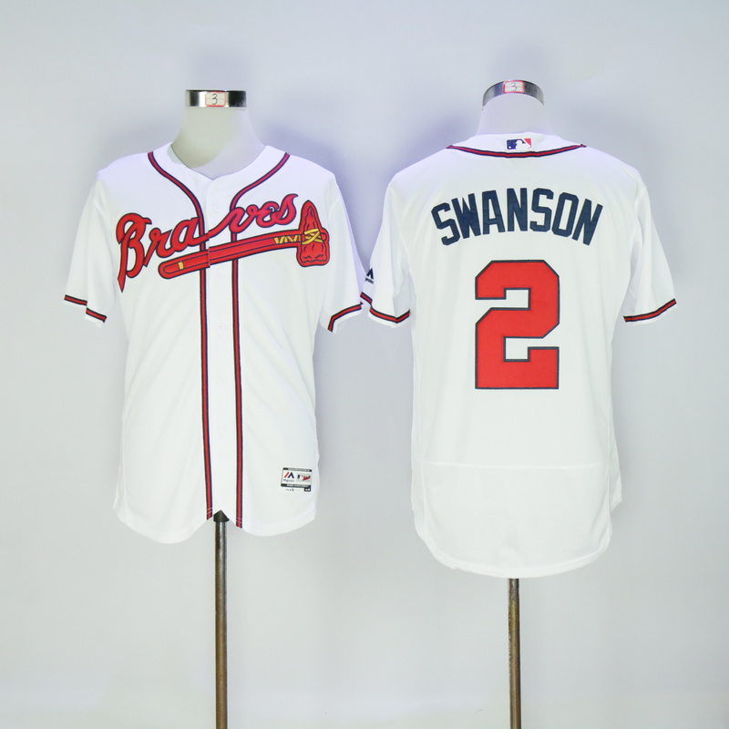 2017 MLB FLEXBASE Atlanta Braves 2 Swanson white jerseys