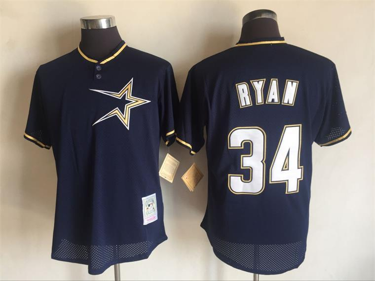2017 MLB Houston Astros 34 Nolan Ryan Blue Throwback Jerseys