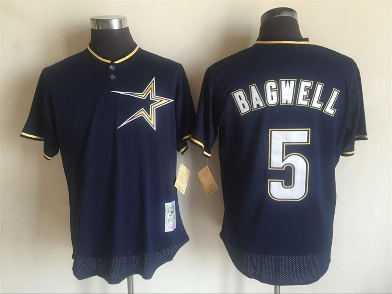 2017 MLB Houston Astros 5 Jeff Bagwell Blue Throwback Jerseys