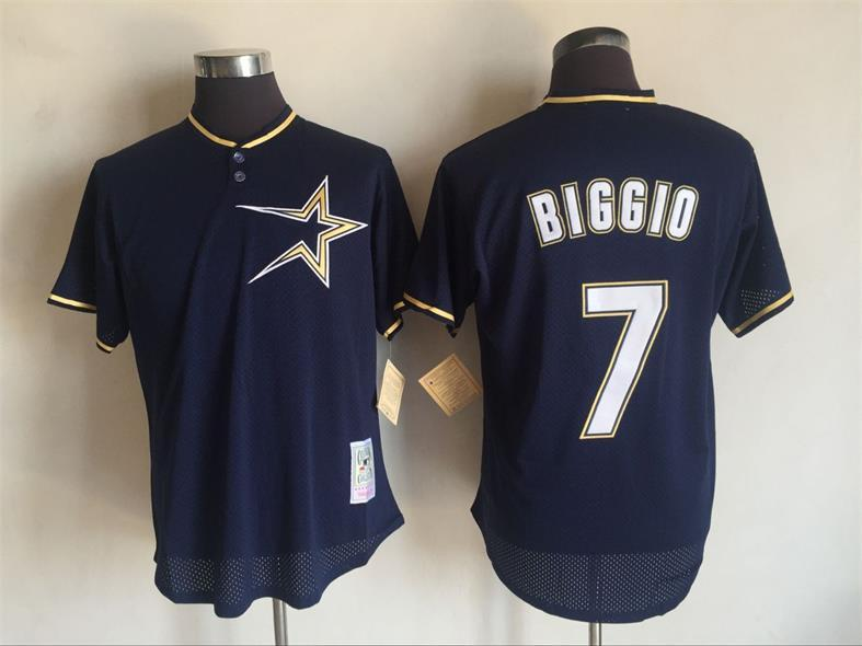 2017 MLB Houston Astros 7 Craig Biggio Blue Throwback Jerseys