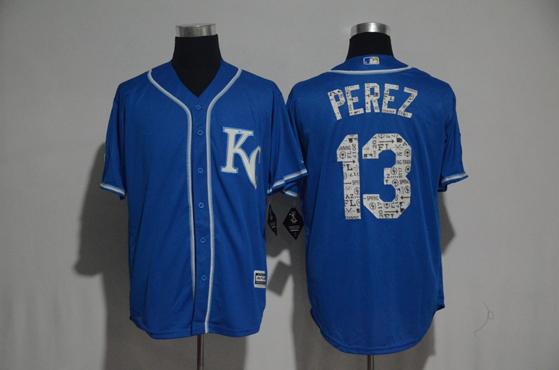 2017 MLB Kansas City Royals 13 Perez Blue Fashion Edition Jerseys