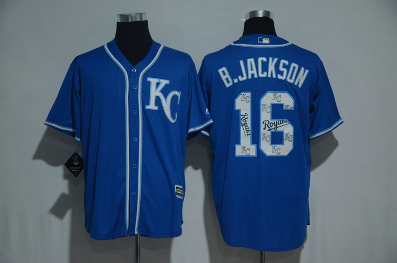 2017 MLB Kansas City Royals 16 B.Jackson Blue Fashion Edition Jerseys