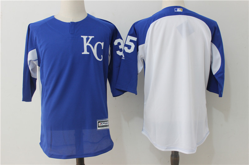 2017 MLB Kansas City Royals 35 Blue Practice clothes Jerseys