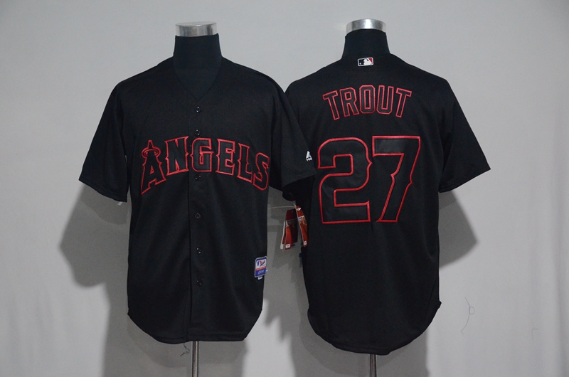 2017 MLB Los Angeles Angels 27 Trout Black Classic Jerseys