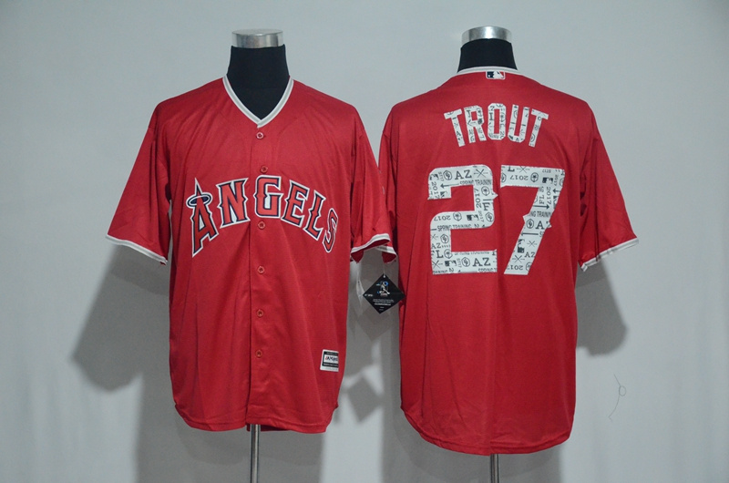 2017 MLB Los Angeles Angels 27 Trout Red Spring Training Jersey
