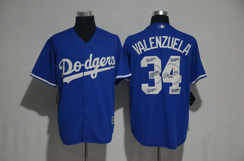 2017 MLB Los Angeles Dodgers 34 Valenzuela Blue Fashion Edition Jerseys