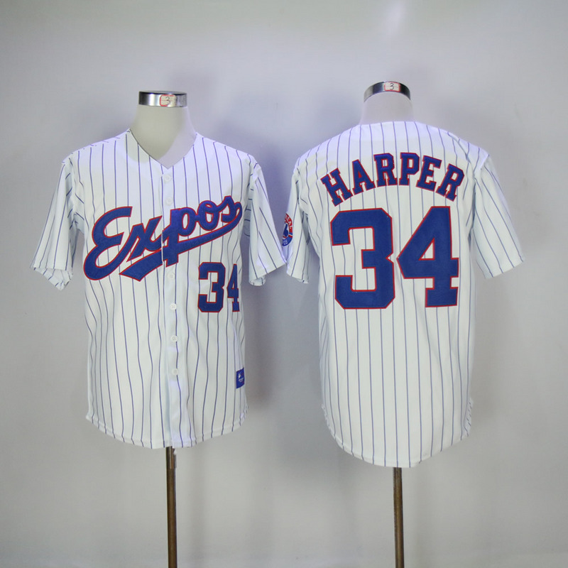 2017 MLB Montreal Expos 34 Harper White Throwback Jersey