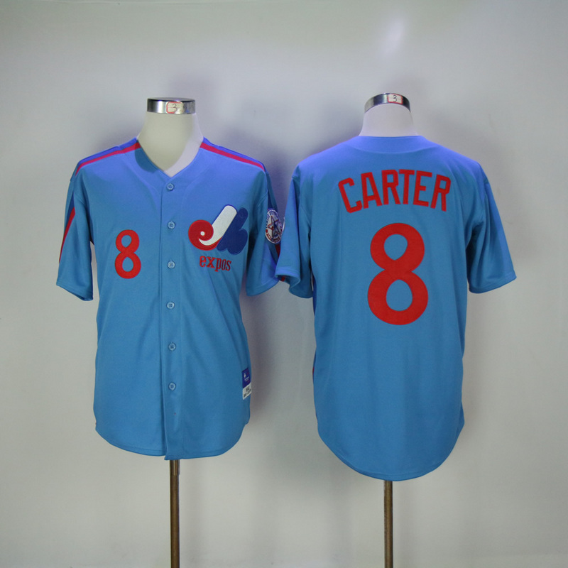 2017 MLB Montreal Expos 8 Carter Blue Throwback Jerseys