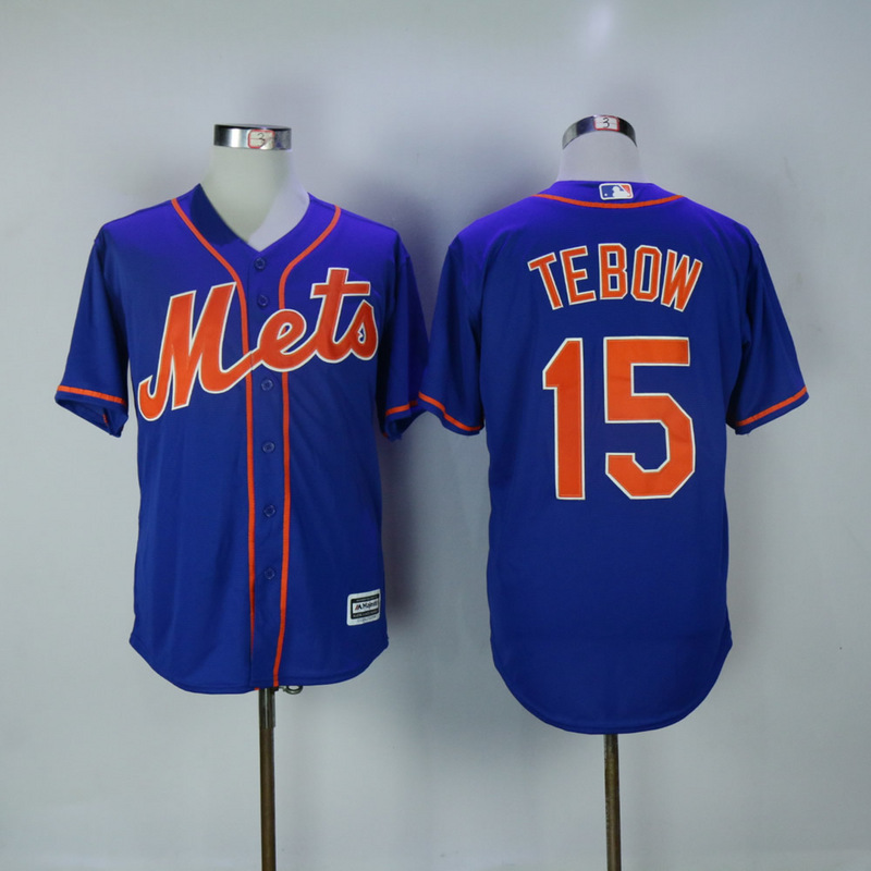 2017 MLB New York Mets 15 Tebow Blue Game Jerseys