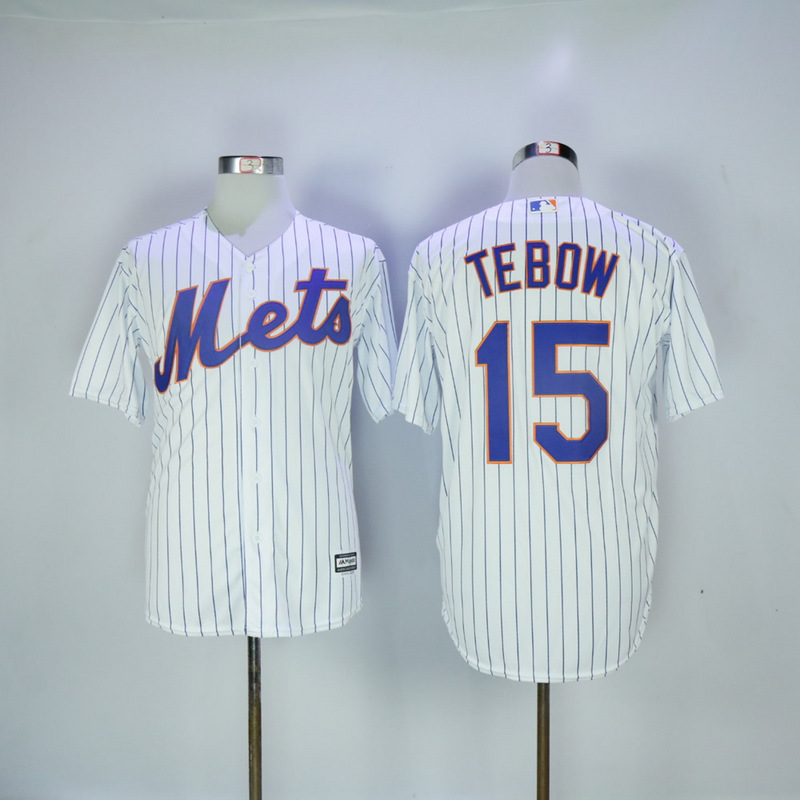 2017 MLB New York Mets 15 Tebow White Game Jerseys