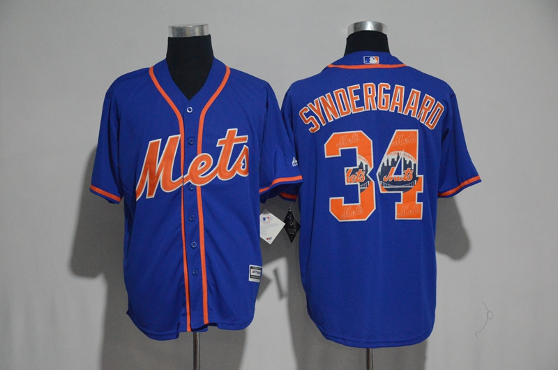 2017 MLB New York Mets 34 Syndergaard Blue Fashion Edition Jerseys