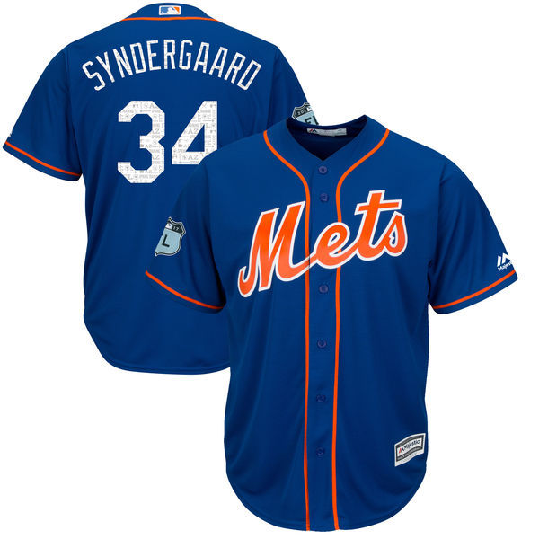 2017 MLB New York Mets 34 Syndergaaro Blue Jerseys