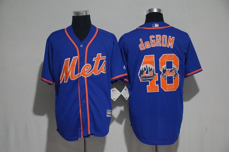 2017 MLB New York Mets 48 Degrom Blue Fashion Edition Jerseys