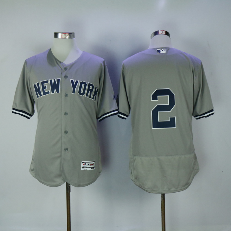 2017 MLB New York Yankees 2 Jeter Grey Elite Jerseys