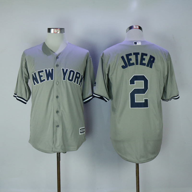 2017 MLB New York Yankees 2 Jeter Grey Game Jerseys