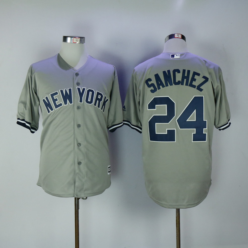 2017 MLB New York Yankees 24 Gary Sanchez Grey Game Jerseys