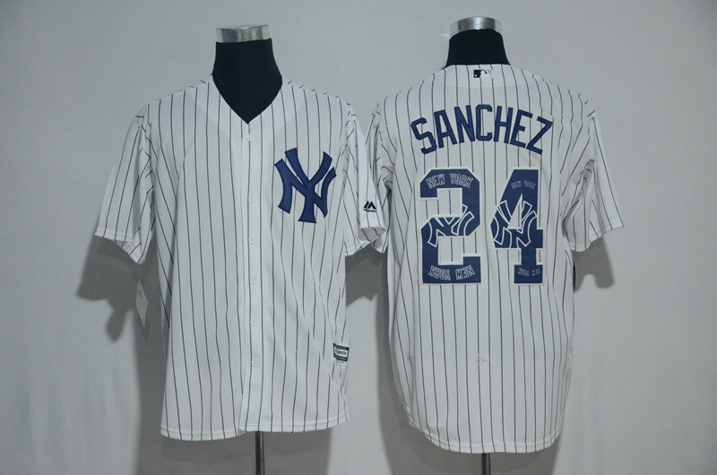 2017 MLB New York Yankees 24 Sanchez White Fashion Edition Jerseys
