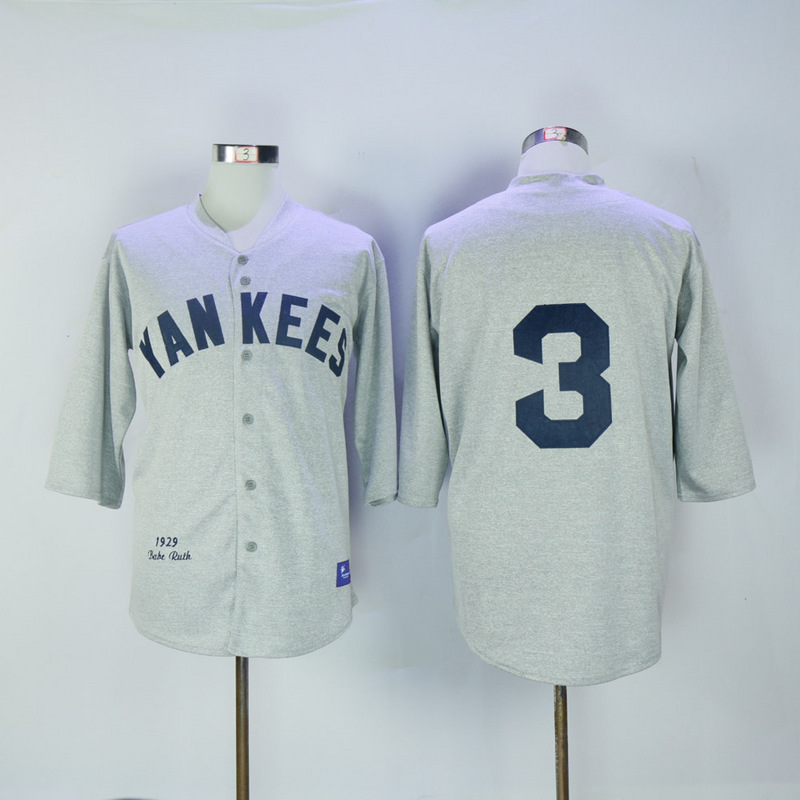 2017 MLB New York Yankees 3 Ruth Grey 1929 Throwback Jerseys