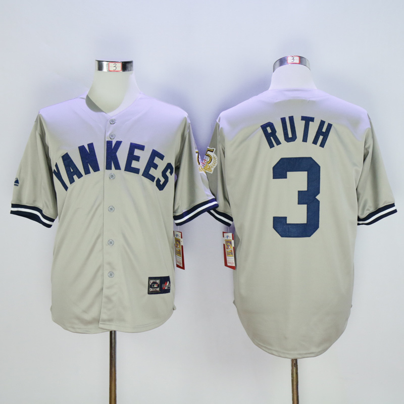 2017 MLB New York Yankees 3 Ruth Grey 75th Throwback Jerseys