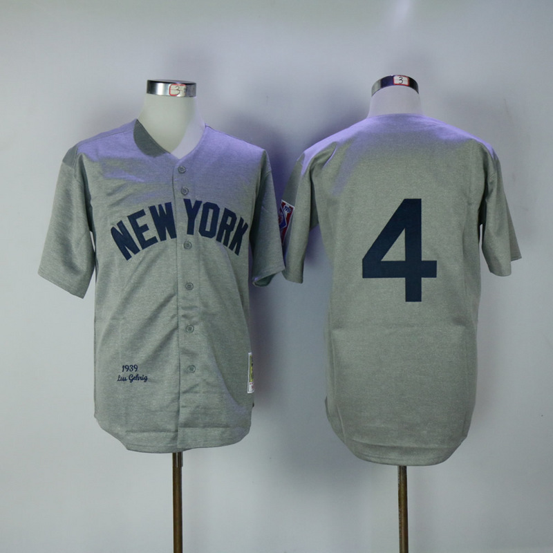 2017 MLB New York Yankees 4 Lou Gehrig grey 1939 Throwback Jerseys
