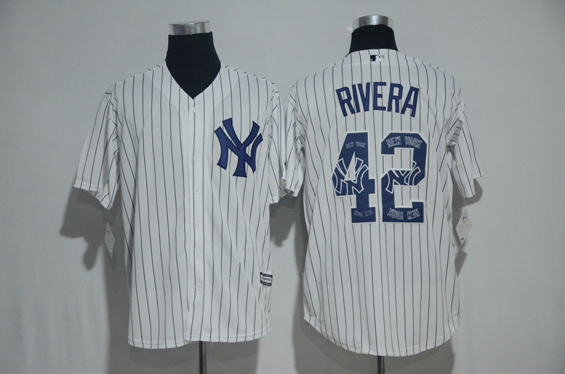 2017 MLB New York Yankees 42 Rivera White Fashion Edition Jerseys