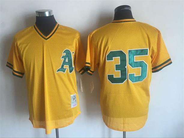 2017 MLB Oakland Athletics 35 Rickey Henderson Yellow Throwback Jerseys