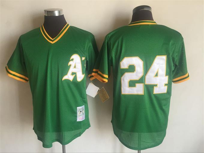 2017 MLB Oakland Athletics 4 Rickey Henderson Green Throwback Jerseys