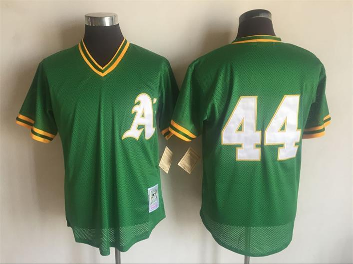 2017 MLB Oakland Athletics 44 Reggie Jackson Green Throwback Jerseys