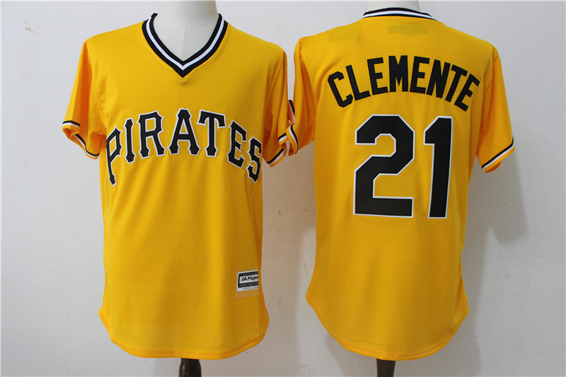 2017 MLB Pittsburgh Pirates 21 Clemente Yellow Throwback Game Jerseys