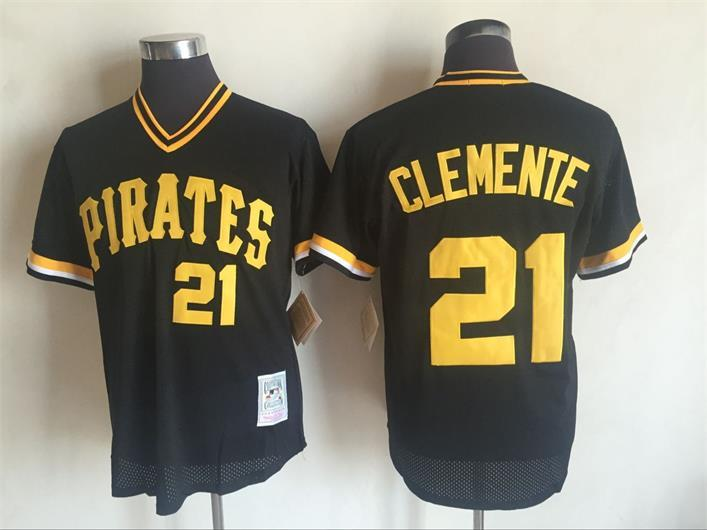 2017 MLB Pittsburgh Pirates 21 Roberto Clemente Black Throwback Jerseys