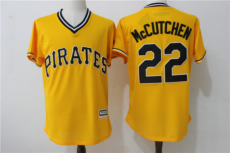 2017 MLB Pittsburgh Pirates 22 Mccutchen Yellow Throwback Game Jerseys