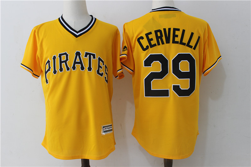 2017 MLB Pittsburgh Pirates 29 Cervelli Yellow Throwback Game Jerseys