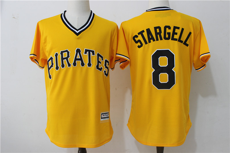 2017 MLB Pittsburgh Pirates 8 Stargell Yellow Throwback Game Jerseys