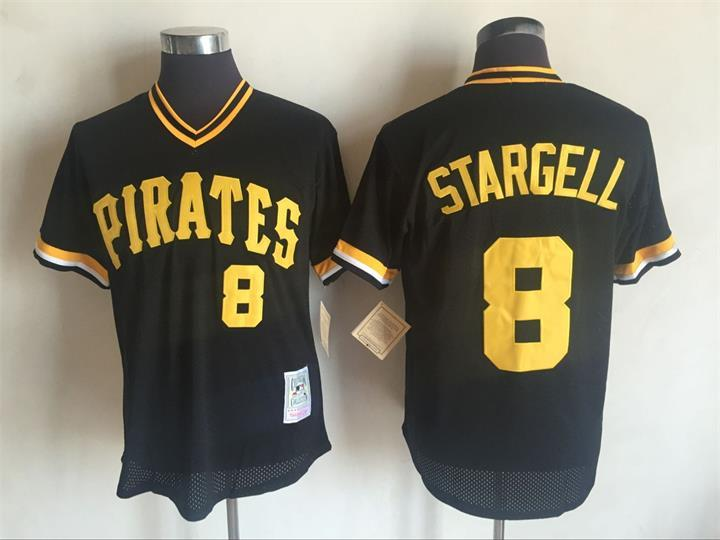 2017 MLB Pittsburgh Pirates 8 Willie Stargell Black Throwback Jerseys
