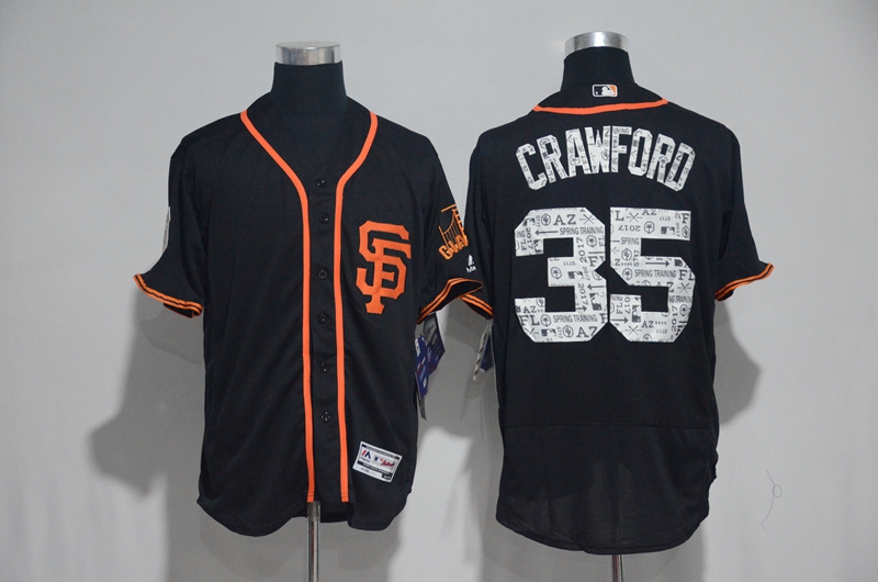 2017 MLB San Francisco Giants 35 Crawford Black Spring Training Flex Base Jersey