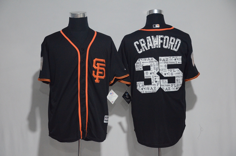 2017 MLB San Francisco Giants 35 Crawford Black Spring Training Jersey