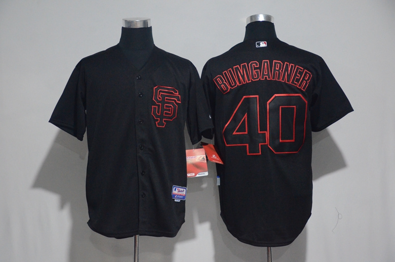 2017 MLB San Francisco Giants 40 Bumgarner Black Classic Jerseys