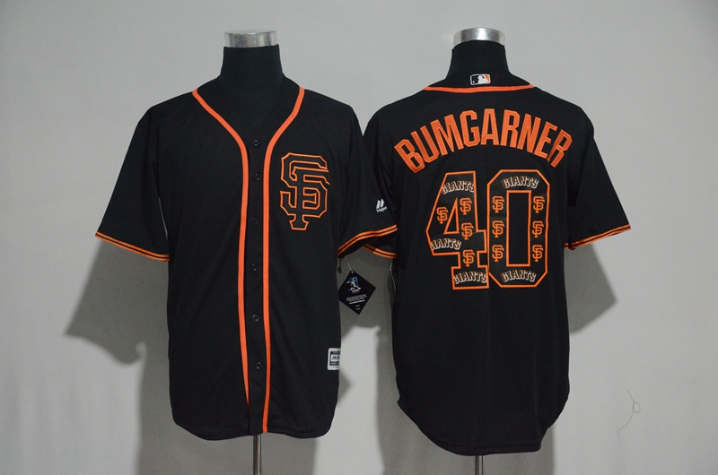 2017 MLB San Francisco Giants 40 Bumgarner Black Fashion Edition Jerseys