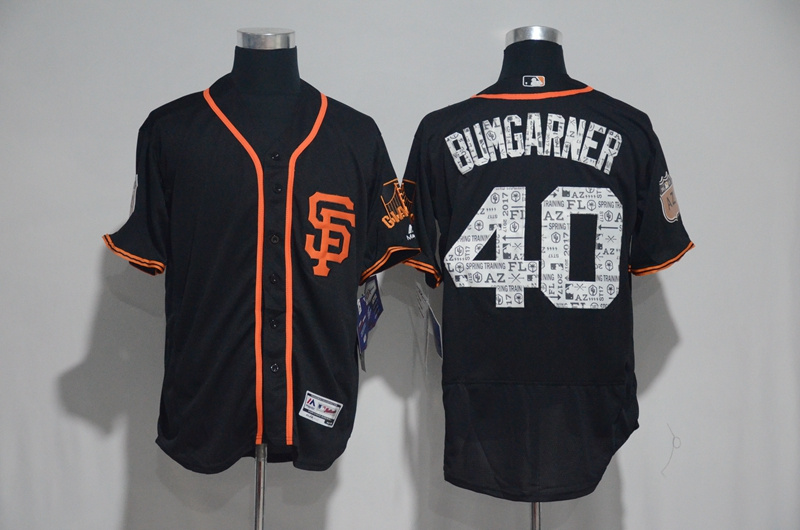 2017 MLB San Francisco Giants 40 Bumgarner Black Spring Training Flex Base Jersey