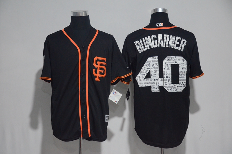 2017 MLB San Francisco Giants 40 Bumgarner Black Spring Training Jersey