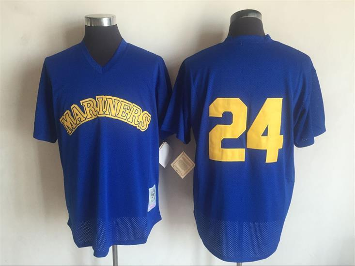 2017 MLB Seattle Mariners 24 Ken Griffey Blue Throwback Jerseys